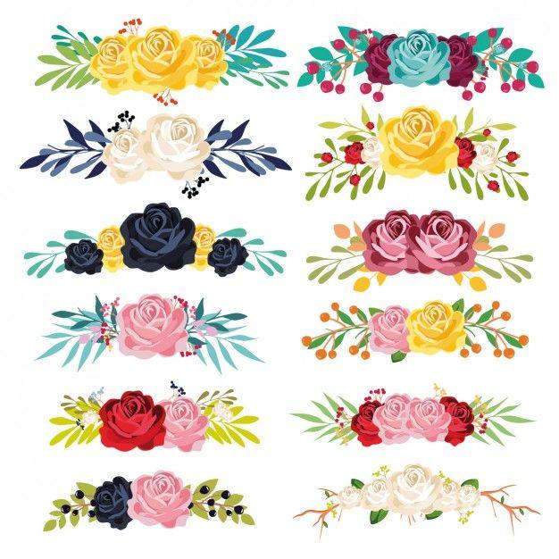 Colorido coleção ornamentos florais Vetor grátis