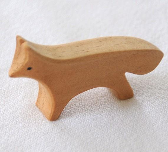 Carved Wooden FOX Handmade Toy Animal Waldorf by jupiterschild, $7.00