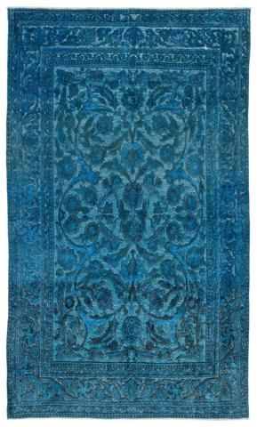 Turquoise  Over Dyed Carved Rug 5'11'' x 10'4'' ft 181 x 315 cm