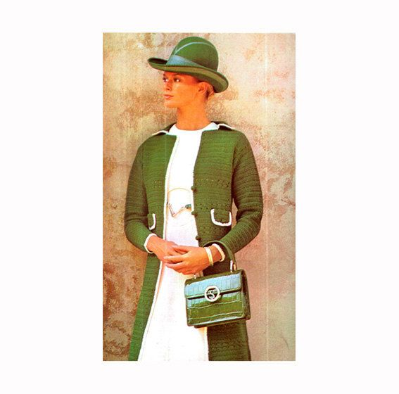 Genuine Vintage GOLDENHANDS Boho Ladies Long Green Coat Jacket with Pockets Crochet Pattern PDF