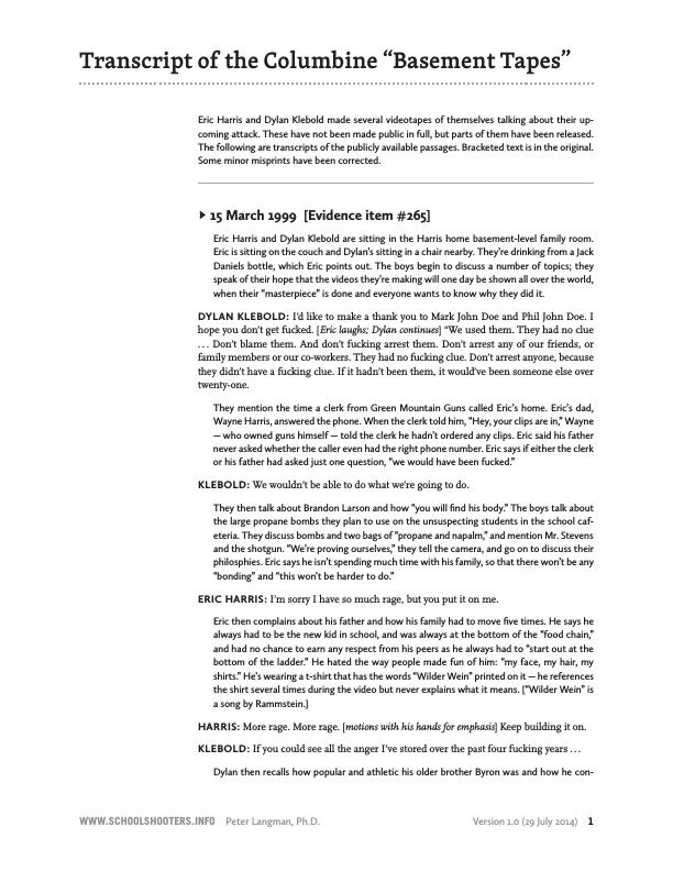 The Basement Tapes Columbine Part - 18: Transcript Of The Columbine U0027Basement Tapesu0027 - School