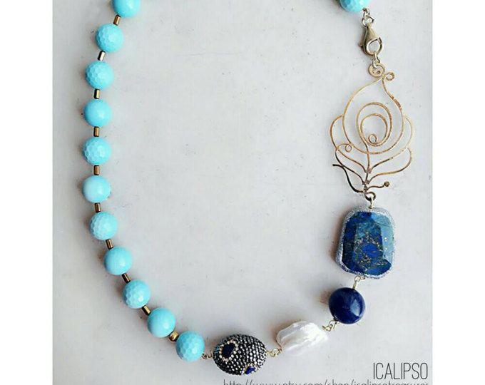 Collana di turchese, turchese gioielli, gemma gioielli per moglie, istruzione gioielli, collana di perline, gioielli di perline, collana blu per lei