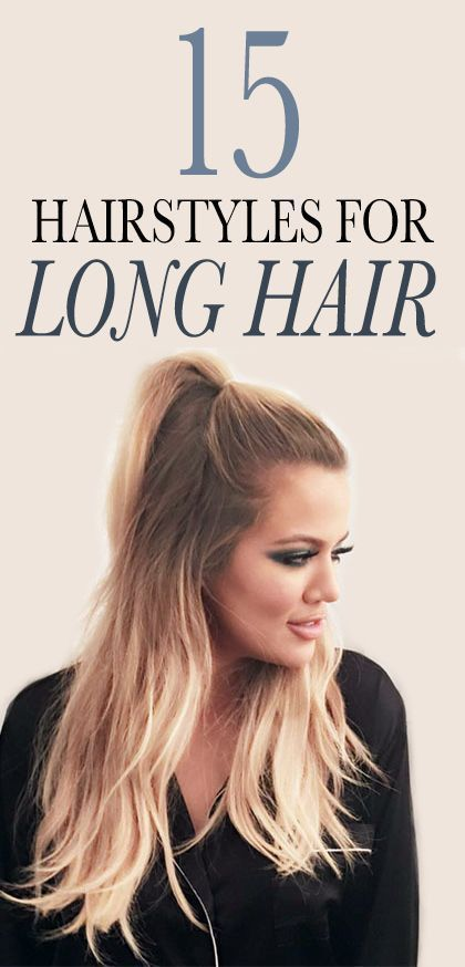 15 Gorgeous Long-Hair Ideas to Try Now: It's easy to get stuck in a hairstyle rut, even when you have lots of length to work with. That's undoubtedly why the humble, last-resort ponytail has had such unwavering staying power all these years. Here, 15 totally non-boring looks and cuts to try if you have long hair. (More good news: You don't have to give up your go-to style completely; there are even a few updo updates in the mix like Khloe Kardashian's half-up ponytail, above.) | allure.com: