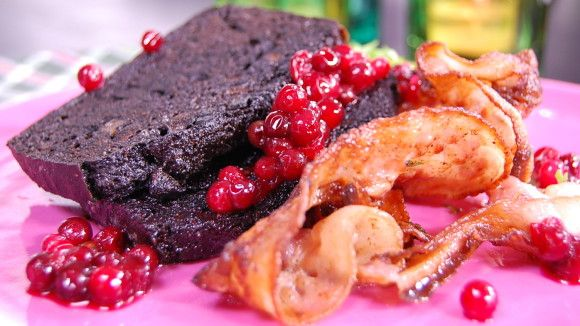 Blodpudding med bacon och lingon - Blackpudding with bacon and Lingonberry