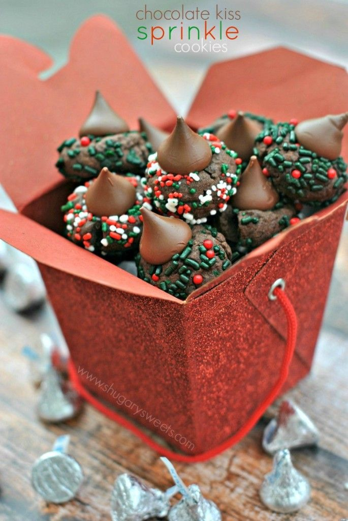 Chocolate Cookies with Hershey's Kisses and holiday sprinkles!