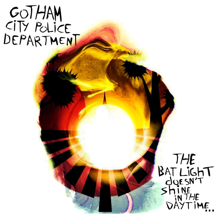 "Album cover for anti-folk artist Gotham City Police departments ""The Bat light Doesn't shine in the Day time...""  The albums are available for free on Bandcamp: gothamcitypolicedepartment.ban…  and also on Soundcloud: soundcloud.com/buyanaxe"