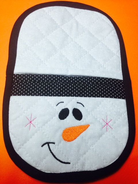 In the hoop snowman  oven mitt embroidery by Christysdigitalfiles