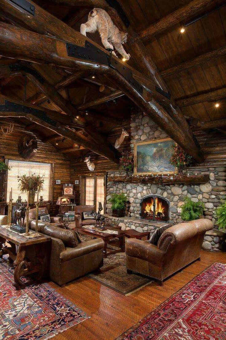 46 Amazing Lodge Living Room Decorating Ideas