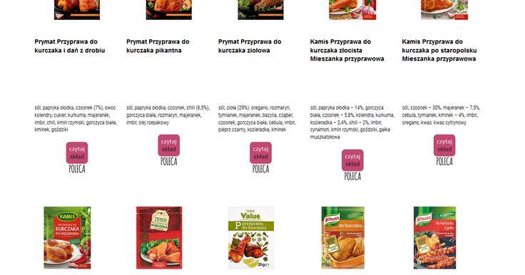 Czytamy skład i porównujemy etykiety produktów Przyprawy do kurczaka. Zobacz skład i polecane produkty przez Czytaj Skład