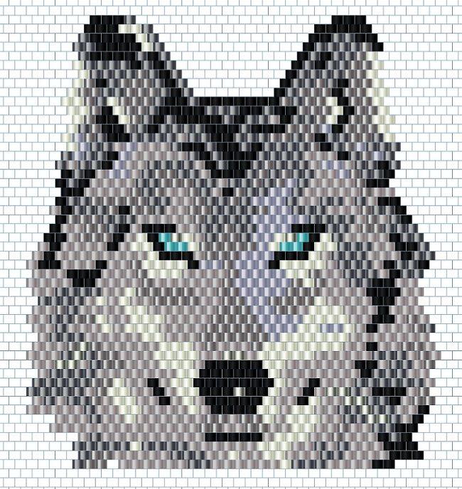 Schema DIY tissage brickstitch perles miyuki motif loup