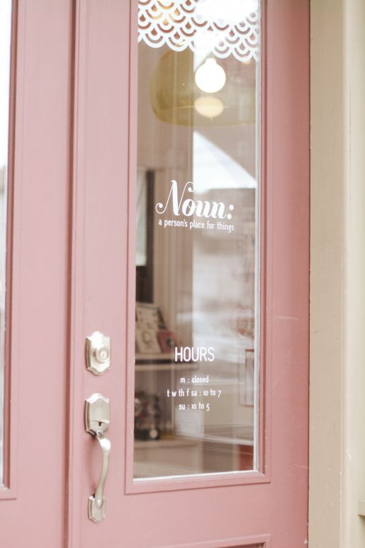 The color and design of that door is beautiful and the name of the store is genius!