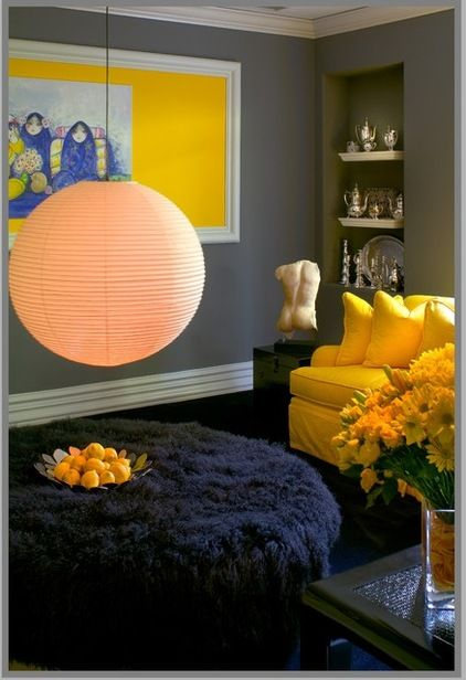 Blue and yellow eclectic family room by Tracy Murdock Allied ASID