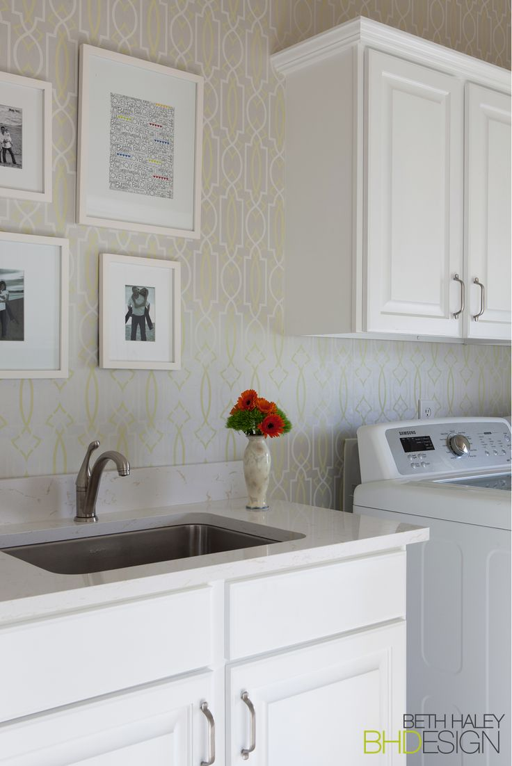 Laundry Room with fun Wallpaper