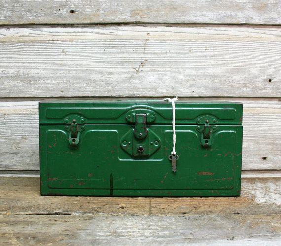 Vintage Industrial Green Tool Box // MidCentury Storage Box by AuroraMills, $65.00