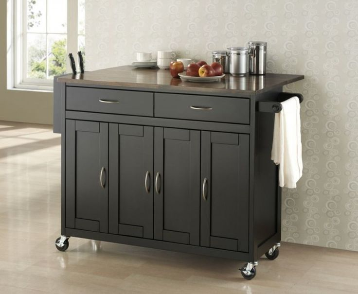 Decoration Stunning Narrow Kitchen Island On Wheels With Cabinet Door Bow Handle In Satin Nickel
