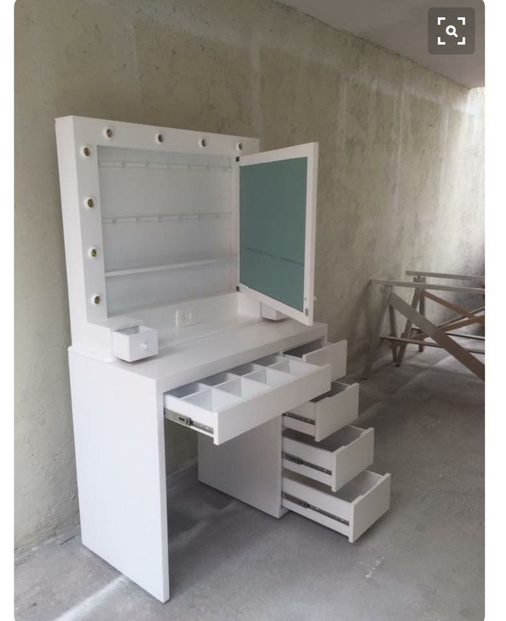 Small space, storage galore!  Vanity desk. #InteriorDesignForBedrooms