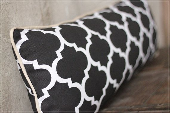 Moroccan Lumbar Pillow Black and White Decorative by emeisonCOM