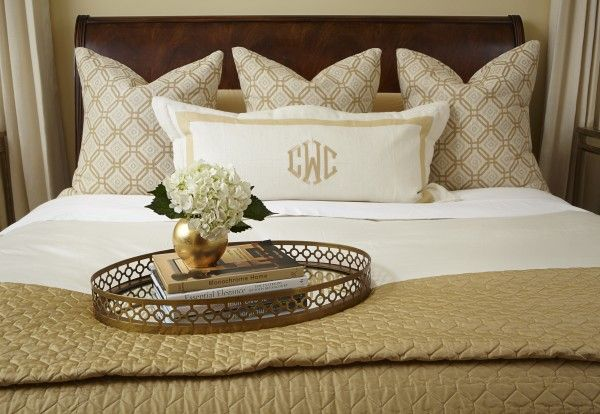 Love the neutral bedding and monogram