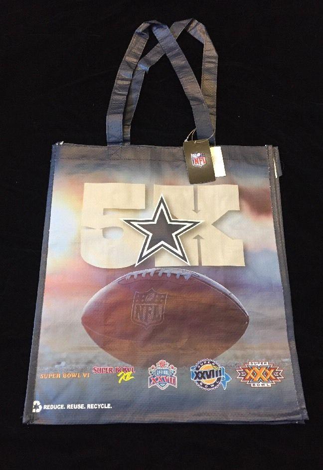 Dallas Cowboys Shopping Tote Bag Five Super Bowl Texas NFL Football Star HEB  | eBay