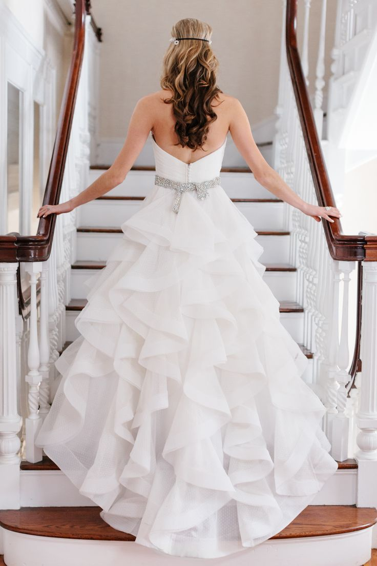 """Judd Waddell """"Carly"""" Point D'Esprit ballgown on Style Me Pretty. Photograph by Sarah Jayne Photography."""
