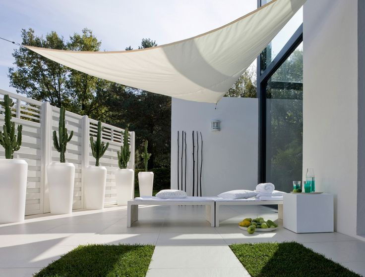 all white backyard design
