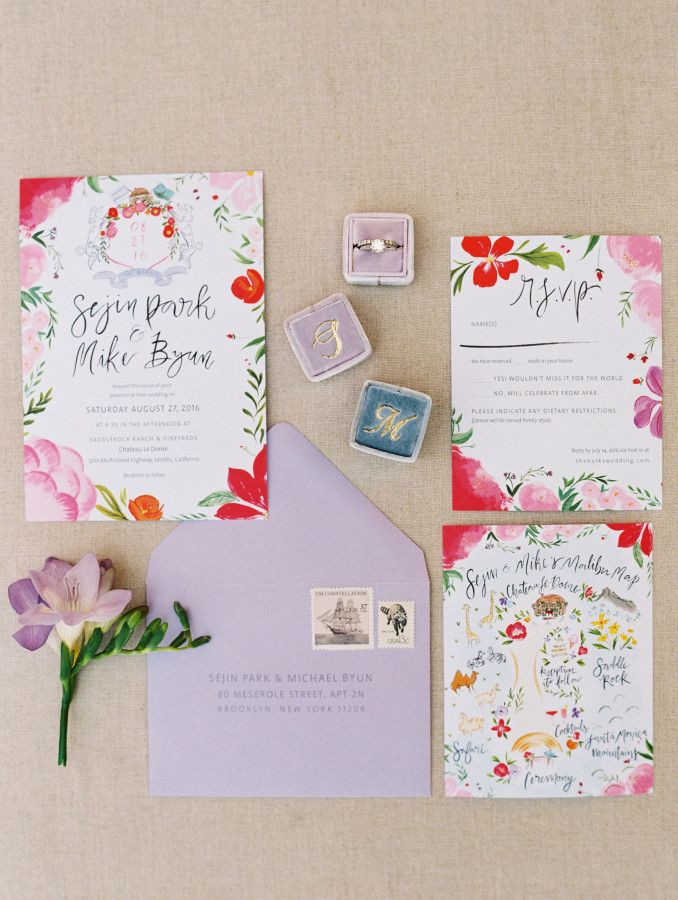 Lilac and pink floral wedding invitation paper suite: http://www.stylemepretty.com/2016/11/25/malibu-destination-wedding/ Photography: Esther and Sun - http://www.esthersunphoto.com/