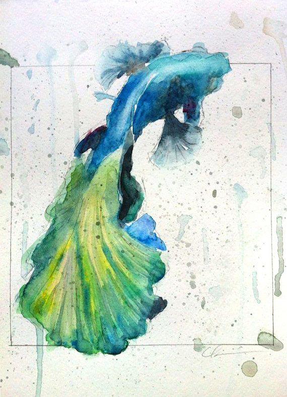 Colorful betta fish watercolor by clair hartmann original for Watercolor fish painting