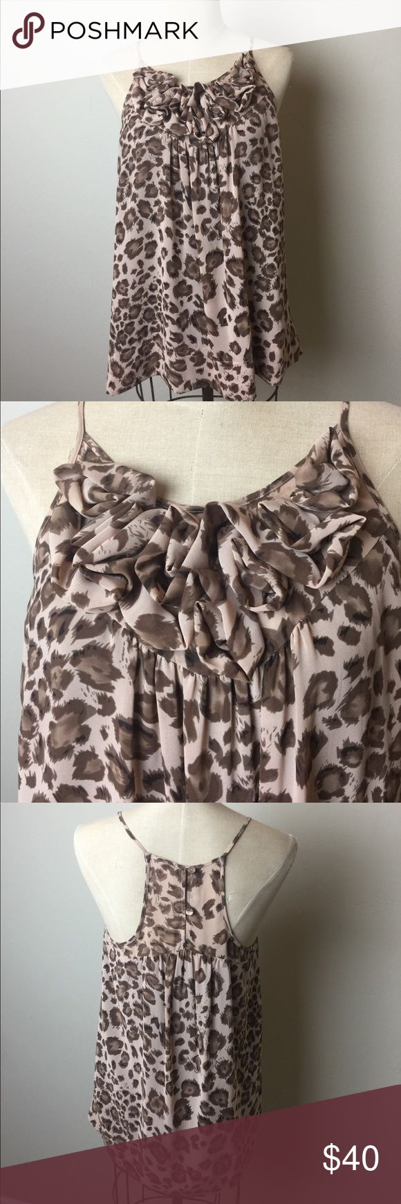 Rebecca Taylor ruffle front animal print top Love the leopard print!  Pretty gathered ruffle detail at neckline. Strappy style. 2 button racer back. Fully lined Rebecca Taylor Tops