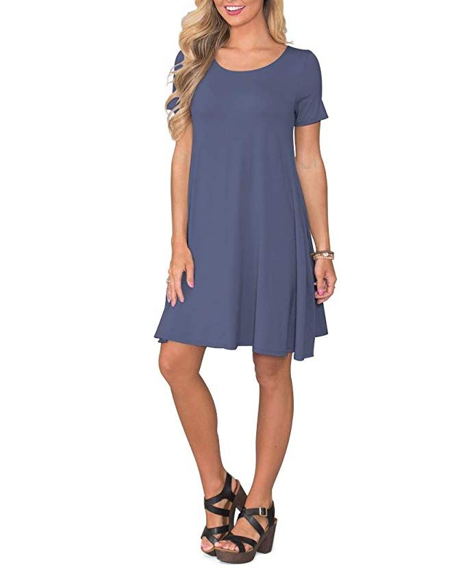 Korsis Women S Summer Casual T Shirt Dresses Short Sleeve Swing Dress With Pockets At Amazon Sleeved Swing Dress Short Sleeve Dresses Summer Dresses For Women