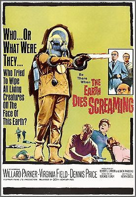 The Earth Dies Screaming (1964)....In a nutshell - Mystery poison gas attack kills all but a few, followed by alien robots in space suits turning people into zombies.