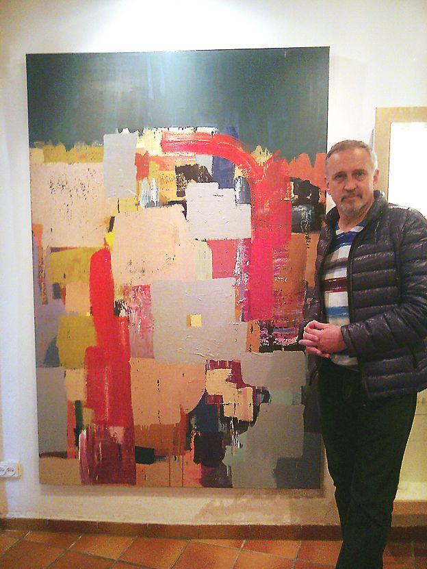 "MNespai'12. Thriller novels writer Jussi Adler-Olsen with ""Escalat"" '11. Oil on canvas 195x130cm"