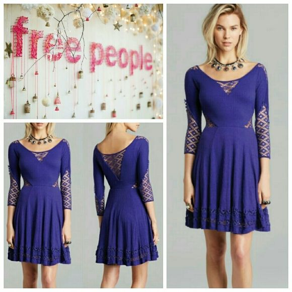 Free People Flowy Fit & Flare Dress Free People Flowy Fit & Flare Dress in purple. Boasting a super soft flowy puckered jersey material, flirty patterned inset panels on bust, arms and sides, a fitted bodice with 3/4 sleeves, a lined ruffle trimmed swingy skirt tops off this gorgeous dress!  Shell Fabric: 97%rayon, 2% polyester, 1%spandex, Trim: 60%cotton, 40% polyester, Lining: 100% rayon    No trade, discount with bundle! Considering all reasonable offers made via the blue offer button…