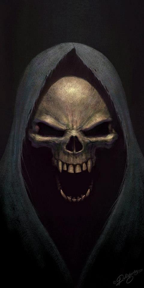 """Yanni - Ceci est une image de la Grim Reaper mais ses traits physiques m'a rappelé le fantôme de l'Opéra. """"une personne qui portait un costume noir... cet effrayant personnage avait une tête de mort à la place du visage!"""" Page. 7 Dans cette citation, il explique qu'il porte une robe noire et il a une tête de squelette qui correspond à la caractéristique physique dans cette image."""