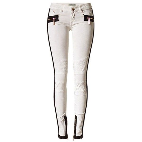 Ivory Low Waist Embroidery Pu Accent Skinny Jeans ($41) ❤ liked on Polyvore featuring jeans, white jeans, zipper pocket jeans, embellished jeans, super skinny jeans and denim skinny jeans