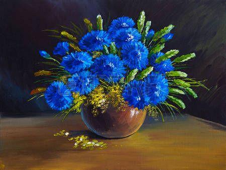 pintura al óleo - bodegón, un ramo de flores, flores silvestres photo