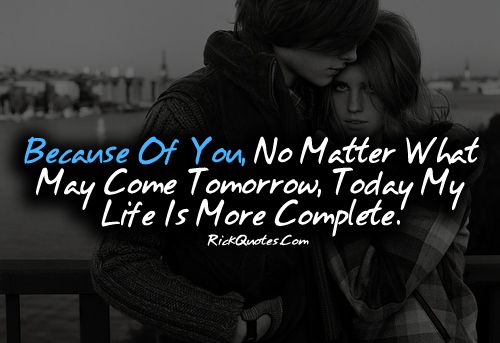 Love Quotes | My Life Is More Complete Couple hug Kiss Fun ...