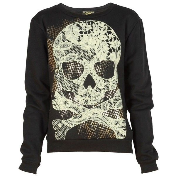 Black Lace Skull Print Sweatshirt ❤ liked on Polyvore