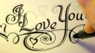 How To Draw Fancy Swirly Italic LOVE YOU Letters, via YouTube. Can't hear it very well