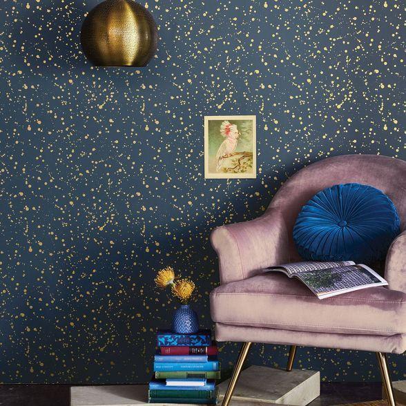 Celestial Peel Stick Wallpaper Navy Gold Opalhouse In 2021 Peel And Stick Wallpaper Gold Accent Wall Accent Wall