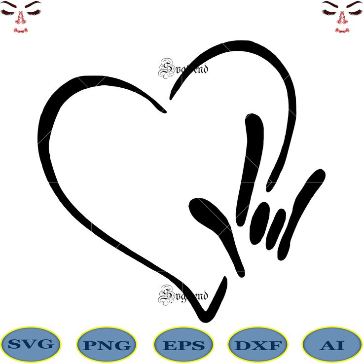 Download I love you heart sign language file svg ai dxf eps png, I ...