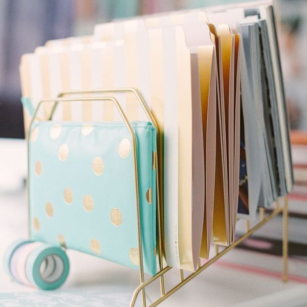 Metallic Folders - Receipts and bills may be boring but a bit of shine makes them chic and tidy until you're ready to send to your accountant.