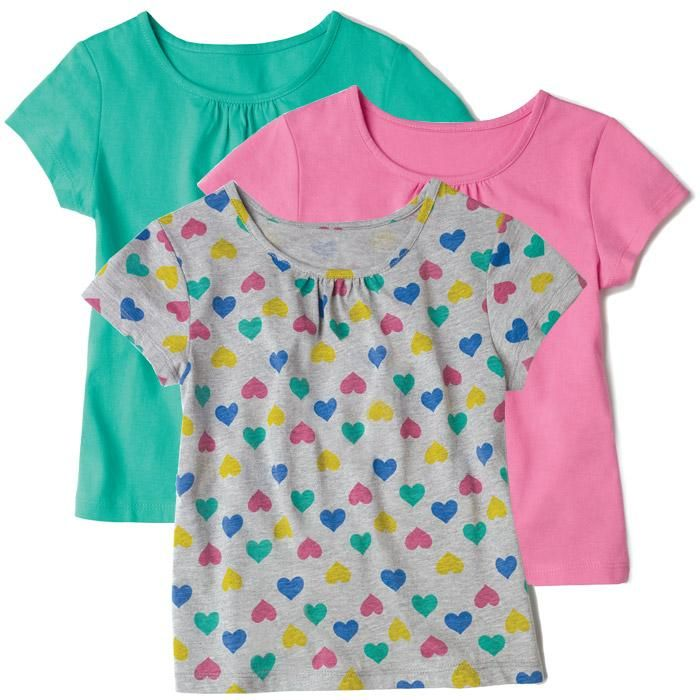 Colorful Hearts Tee Pack. An adorable set of three shirts that are perfect for everyday wear! Includes two solid and one print tee. Cotton, polyester. Imported. Sizes S (4/5)-L (7-8). Reg. $19.99. www.youravon.com/tanikaparson.