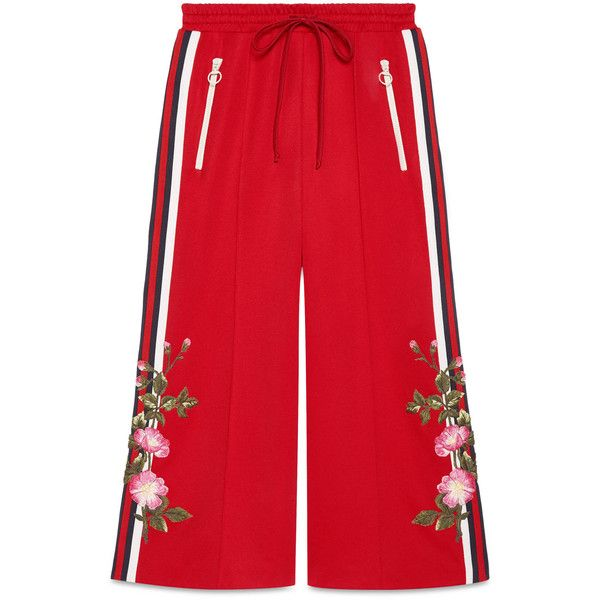 Gucci Embroidered Wide-Leg Jogging Pant found on Polyvore featuring pants, bottoms, gucci, sweatpants, pants & shorts, ready-to-wear, women, red pants, wide leg cropped trousers and floral jogger pants