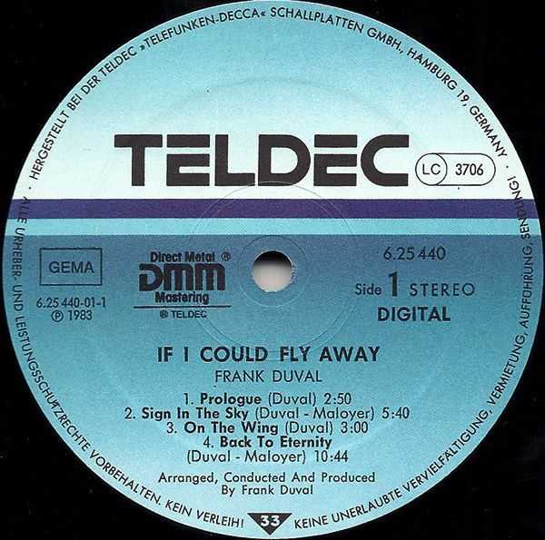 Frank Duval - If I Could Fly Away GER 1983 Lp vg++ to nm w/Inner