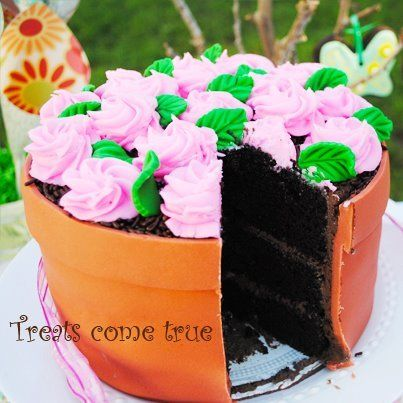 great cake  - perfect for Mother's Day or a garden party (thought of you @Erica Lewis ) This would be so pretty for Mother's Day! Full instructions!Or downsize as cupcakes.
