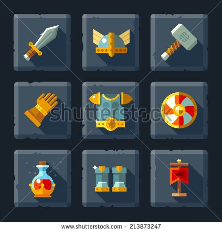 Cartoon vector flat relief game icon set on stone. Armor and equipment: sword, shield, helmet, hammer, gloves, boots, a magic elixir. - stock vector