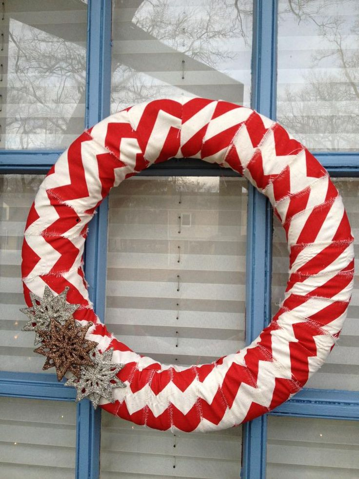 Festive Front Doors: DIY Wreath - wrap with fabric.