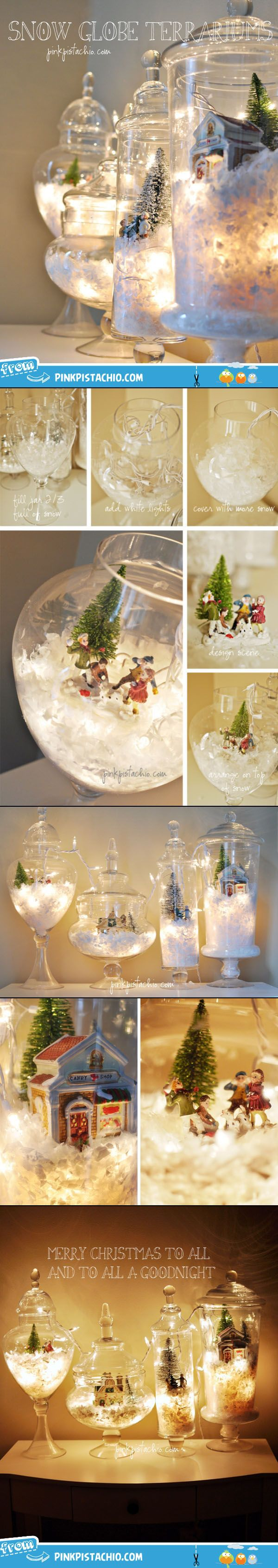 glass jars with Christmas snow scenes and lights....