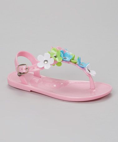 Love this Light Pink Flower T-Strap Jelly Sandal by Chatties on #zulily! #zulilyfinds