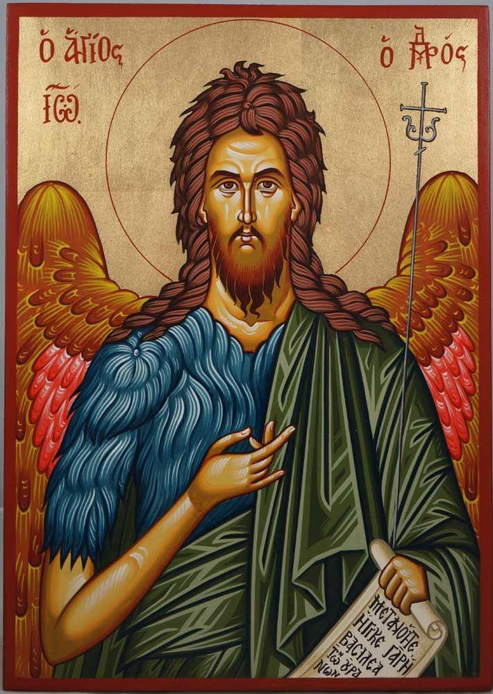 St Prophet John Forerunner Hand-Painted Greek Icon